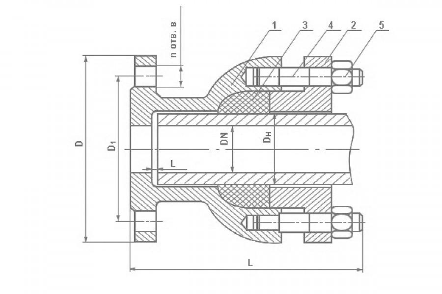 Патрубок фланец-раструб компенсатор ПФРК ДУ500