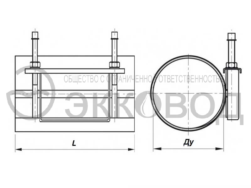 Ремонтная муфта ДУ 100 L 200 мм